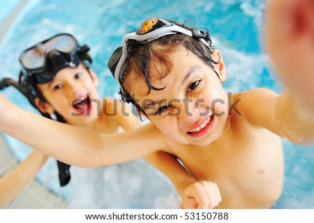 On beautiful pool, summer great time! - stock photo