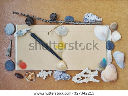 on brown cardboard notebook lies open, surrounded by shells, pebbles, coral and feathers and twig with fir cones on a notebook is a black fountain pen, feathers and shells