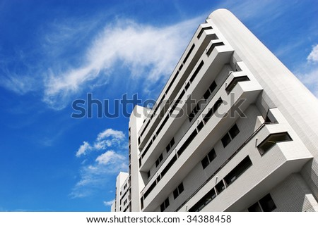 On business angle - modern stylish city building - stock photo
