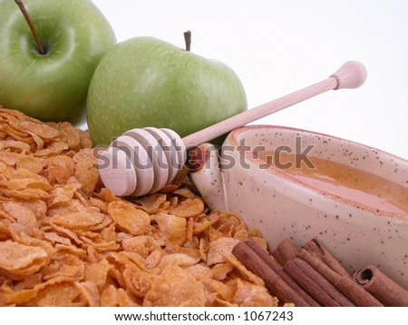 on diet - green apples, cinnamon sticks, honey and corn-flakes