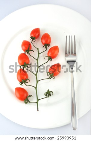 On dish's fork and small tomato