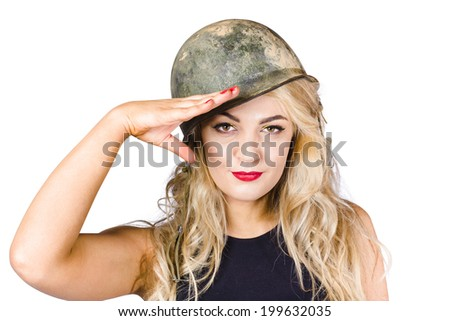 On duty blond pinup beauty saluting at isolated command post. Call to arms - stock photo