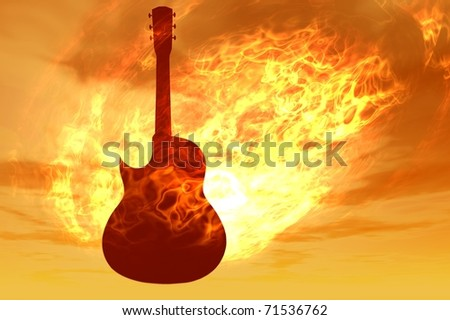 on fire guitar 3d electric music render - stock photo