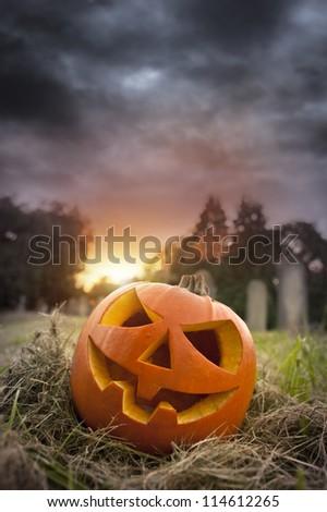 On Hallows Eve - Jack-O-Lantern on Halloween evening - stock photo