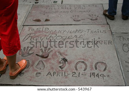 On Hollywood Boulevard, signatures and prints of Roy Rogers and Trigger. - stock photo
