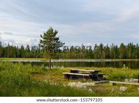 On lake. Finland, Lapland - stock photo