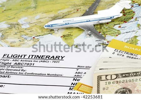 On line booking flight itinerary with map. - stock photo