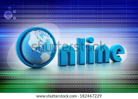 On-line illustration with globe.  - stock photo