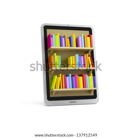 on-line library on the tablet, 3d render - stock photo