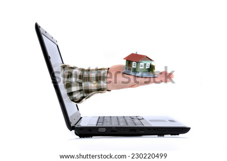On line Real Estate Concept on the white background - stock photo