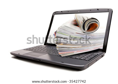 On line review magazines - stock photo