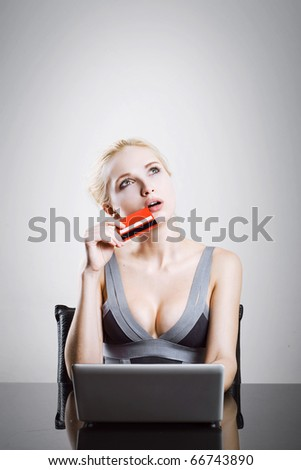 on-line shopping beautiful girl - stock photo