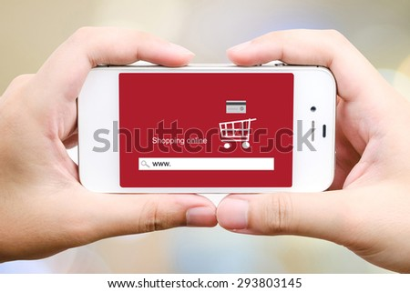 On line shopping on smart phone screen, business, E-commerce, technology and digital marketing background - stock photo
