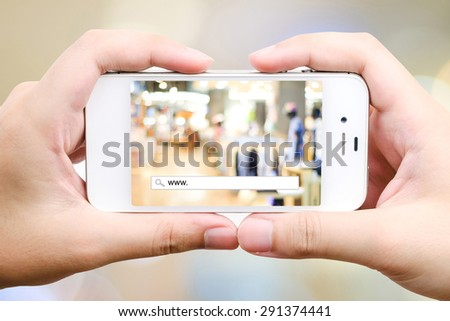 On line shopping with addess bar on smart phone, business, E-commerce, technology and digital marketing background