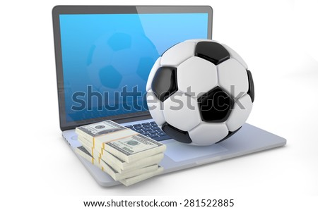 On Line Soccer Betting Concept (3D Render). A soccerball and some wad of dollars on laptop isolated on white background. - stock photo