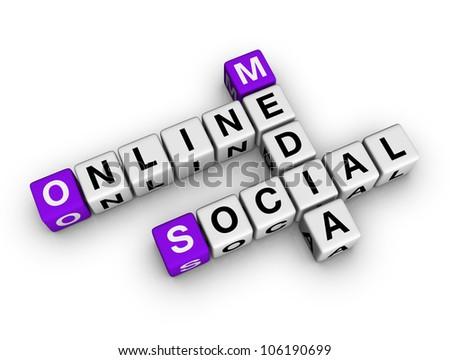 on-line social media  (cubes crossword series) - stock photo
