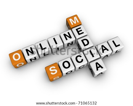 on-line social media   (3D crossword orange series)