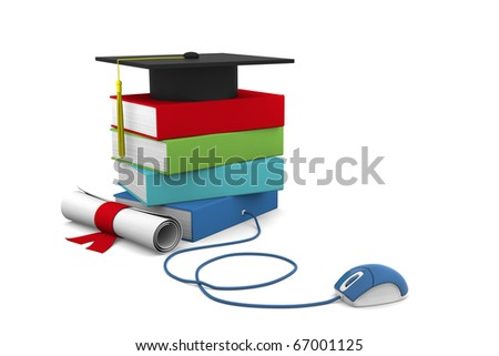 On line University concept. Distance Learning Courses and Degree. - stock photo