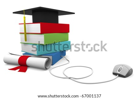 On line Univresity concept. Distance Learning Courses and Degree. - stock photo