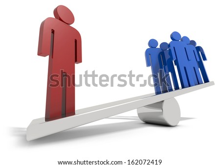 On man out weighing all the others isolated on a white background - stock photo