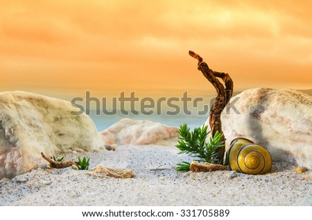 On mountain top with orange sky in a fantasy landscape with a snail shell and old tree/Fantasy landscape sundown/Mystical light on snail shell - stock photo