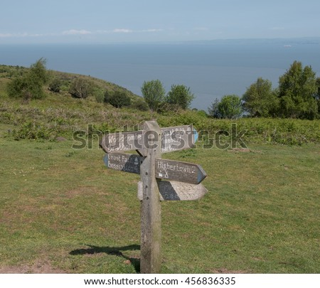 on North Hill with Views Across the Bristol Channel to Wales on the South West Coastal Path in Somerset, England, UK - stock photo
