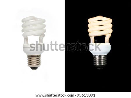 On/Off eco lamp on white and black background - stock photo