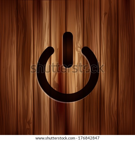 Onoff Switch Icon Power Symbol Wooden Stock Illustration 176842847