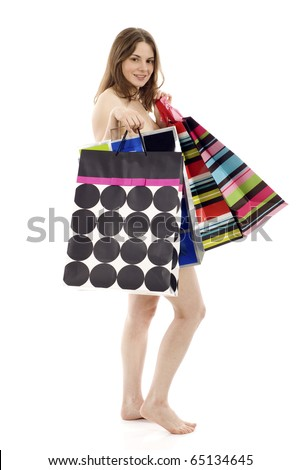 On Sale Concept:  Happy naked woman with shopping bags isolated on white