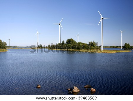 On-shore wind power farm - stock photo