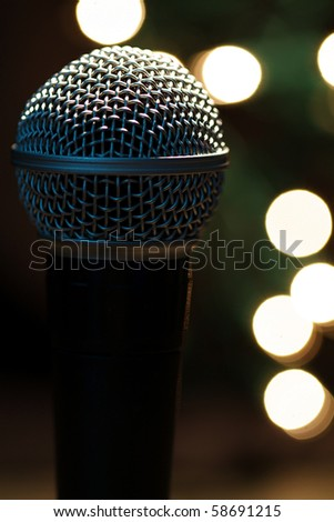 On stage microphone of a popular artist with spot lights