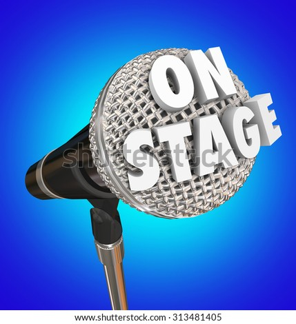 On Stage words on microphone to illustrate a concert or performance by a singer or comedian in a theatre in front of an audience  - stock photo