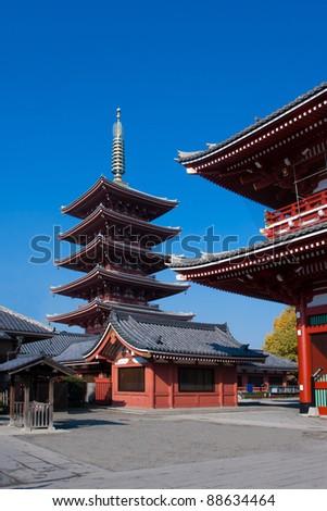 On sunny day in early autumn season at Asakusa temple Tokyo, Japan - stock photo
