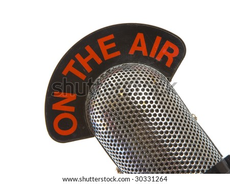 On The Air Vintage Microphone over white background - stock photo