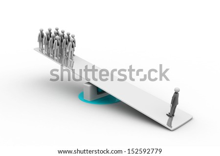 On the balance many persons against one person - stock photo