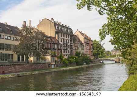 On the bank of the river Ill in Strasbourg, France - stock photo