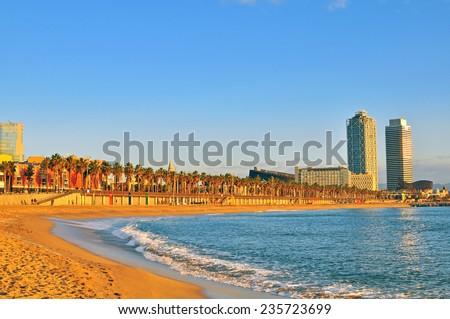 On the beach of Barcelona, Spain - stock photo