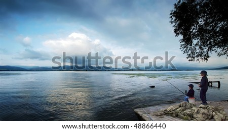 on the beautiful blue danube - stock photo