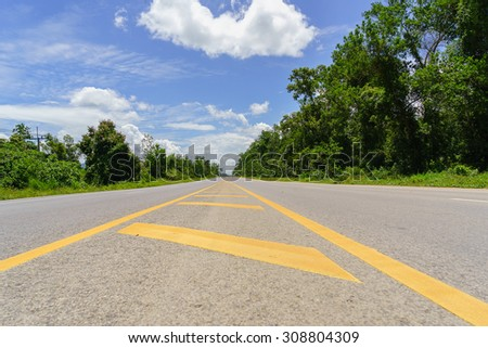 On the bright sky , it would make even line the street with a beautiful view . - stock photo