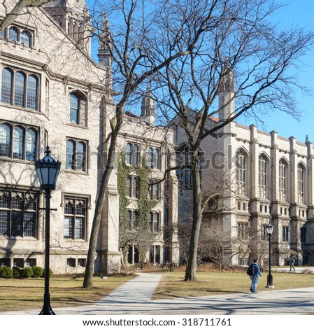 On the campus of the University of Chicago in Hyde Park, Chicago, IL, USA. - stock photo