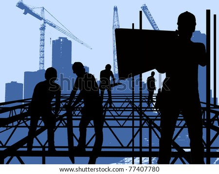 On the construction - five men on the construction