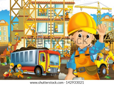 On the construction site - illustration for the children - stock photo