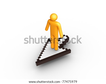 On The Cursor. - stock photo