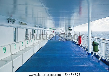On the deck of a cruise ship - stock photo