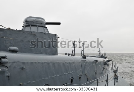 on the deck of air cushion assault vehicle - stock photo