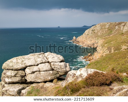 On the dramtic coastpath between Lands End and Sennen Cove Cornwall England UK Europe - stock photo