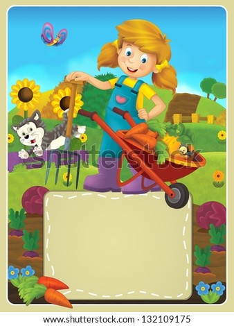 On the farm - the happy illustration for the children
