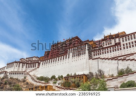 On the feet of Potala Palace in Lhasa of Tibet, China - stock photo