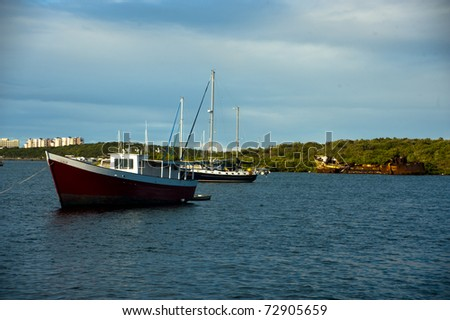 On the French side of Simpson's bay we waited  for the draw bridge to go up before we could sail into the Carribbean sea. - stock photo