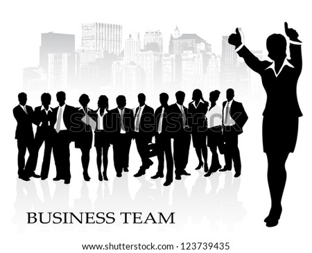 on the image the group of businessmen against the megalopolis is presented - stock photo